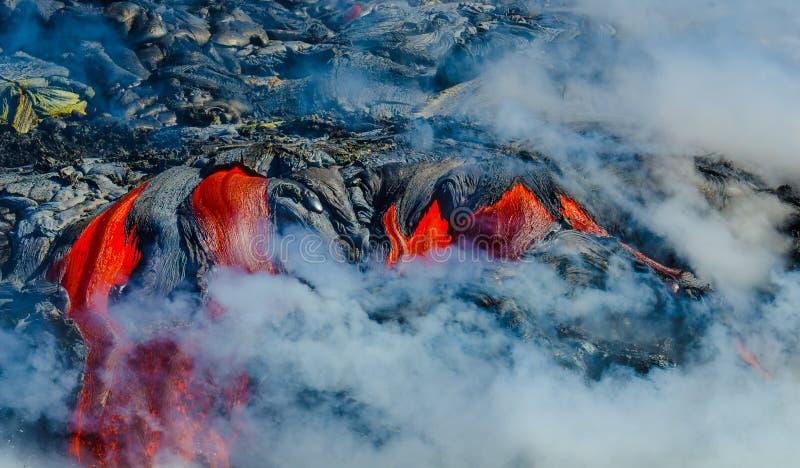 Kilauea火山熔岩流 免版税库存图片
