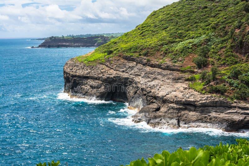 Kilauea点海岸在考艾岛,夏威夷 免版税库存照片