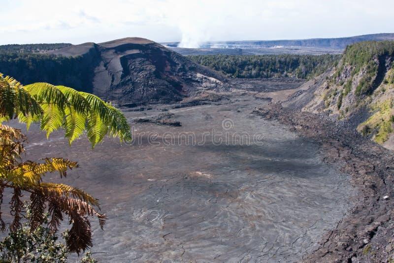 Kilauea Iki e Caldera de Kilauea fotografia de stock