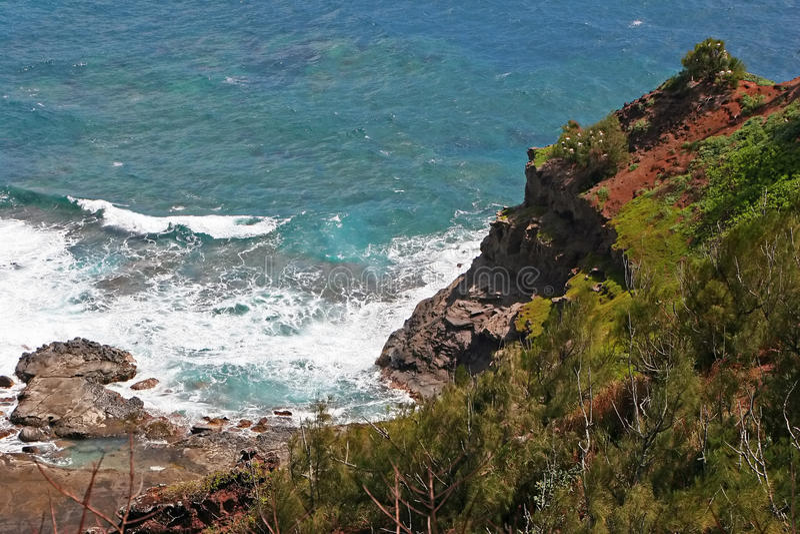 Kilauea Küstenlinie auf Kauai lizenzfreie stockbilder
