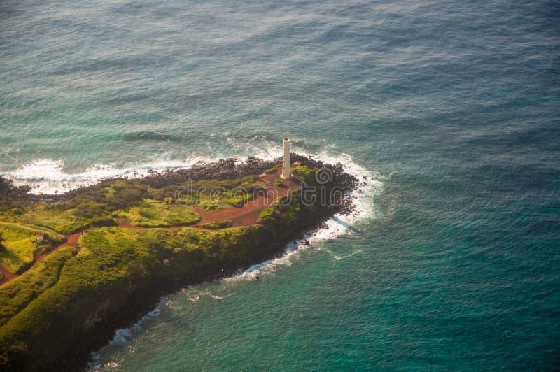 Kilauea-Leuchtturm gelegen auf Kilauea-Punkt auf der Insel von Kauai lizenzfreie stockbilder
