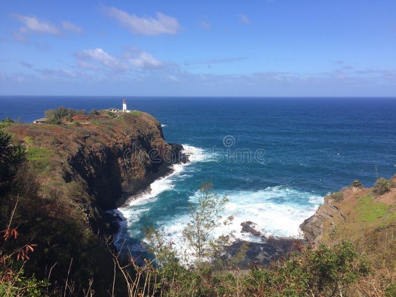 Kilauea-Leuchtturm und Schutzgebiet-Ausblick auf Kauai-Insel, Hawaii stockbild