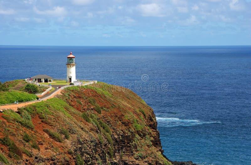 Kilauea lighthouse. Scenic view of Kilauea lighthouse on Kauai Island with blue sea background, Hawaii, U.S.A royalty free stock images