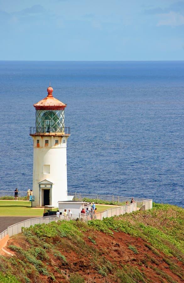 Kilauea lighthouse. Scenic view of Kilauea lighthouse with sea in background, Kauai Island, Hawaii, U.S.A stock photography