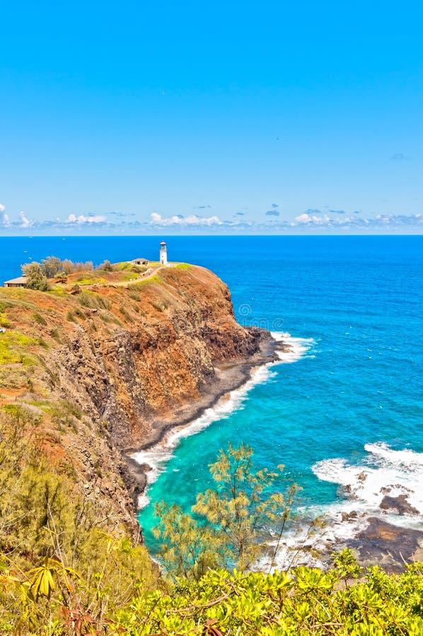 Kilauea lighthouse in Kauai island, Hawaii. Kilauea lighthouse northern guide in Kauai island with calm ocean in background stock photos