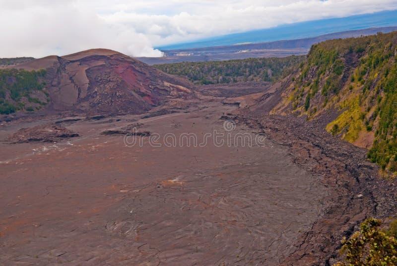Kilauea Volcano on Big Island of Hawaii. The Halema 'uma 'u crater in the Kilauea Caldera. Located in the Volcano National Park on the Big Island of Hawaii royalty free stock photography