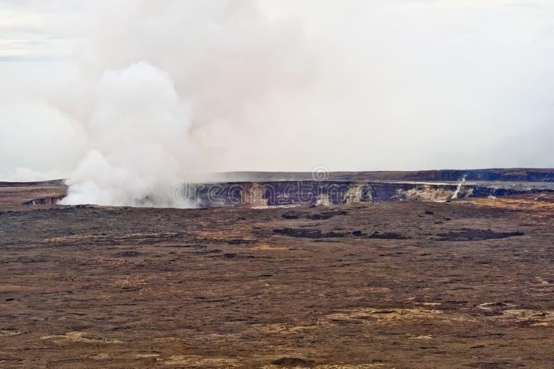 Kilauea Volcano on Big Island of Hawaii. The Halema'uma'u crater in the Kilauea Caldera. Located in the Volcano National Park on the Big Island of Hawaii royalty free stock image