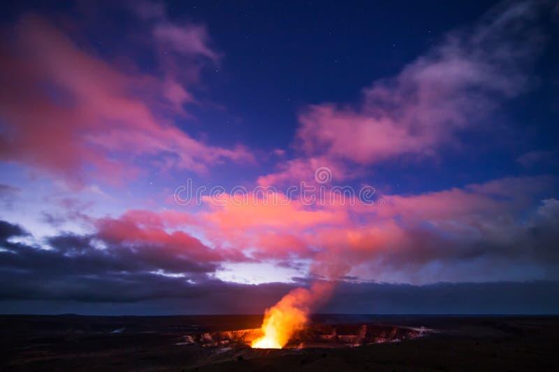 Kilauea Volcano. Caldera and crater on Hawaii Big Island at night royalty free stock photography