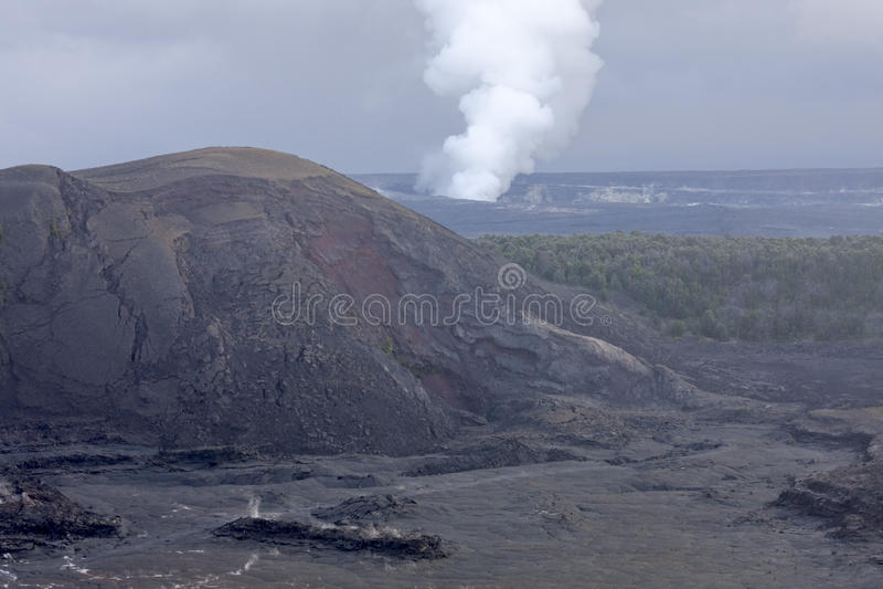 Kilauea Volcano Crater, Hawaii. Landscape view of Kilauea Volcano Crater on the Big Island of Hawaii royalty free stock photo