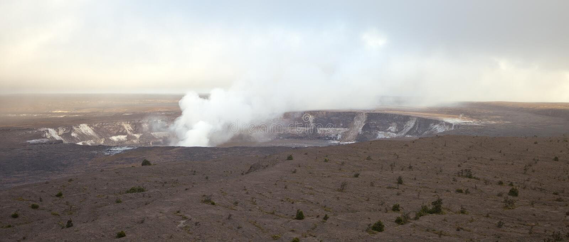 Kilauea volcano crater - panorama. Panoramic view of active Kilauea volcano crater, Hawaii Volcanoes National Park, Big Island stock photo
