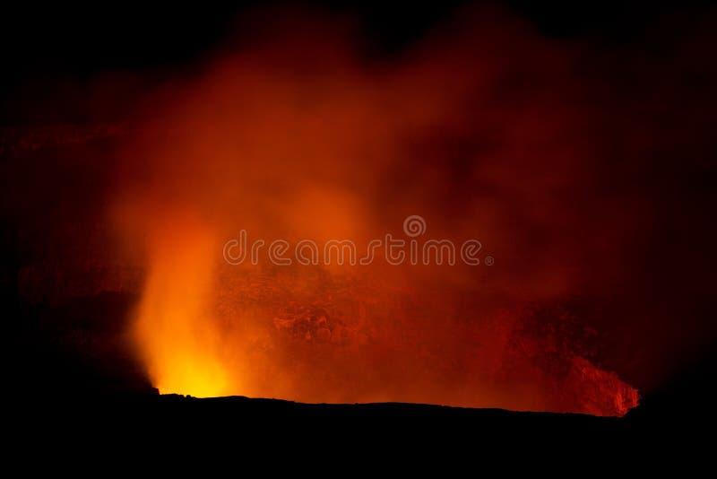 Kilauea Volcano. At night in Hawaii royalty free stock images