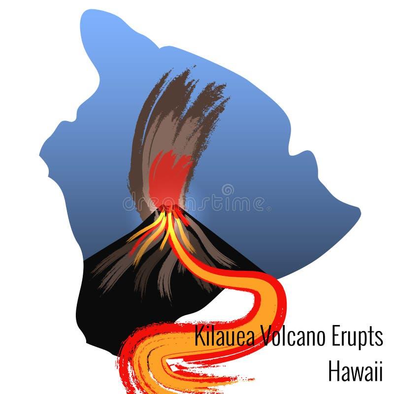 Kilauea wulkan Wybucha na wyspie Hawaje Ampuła przepływ lawa Duża wyspa Hawaje kontur ilustracji