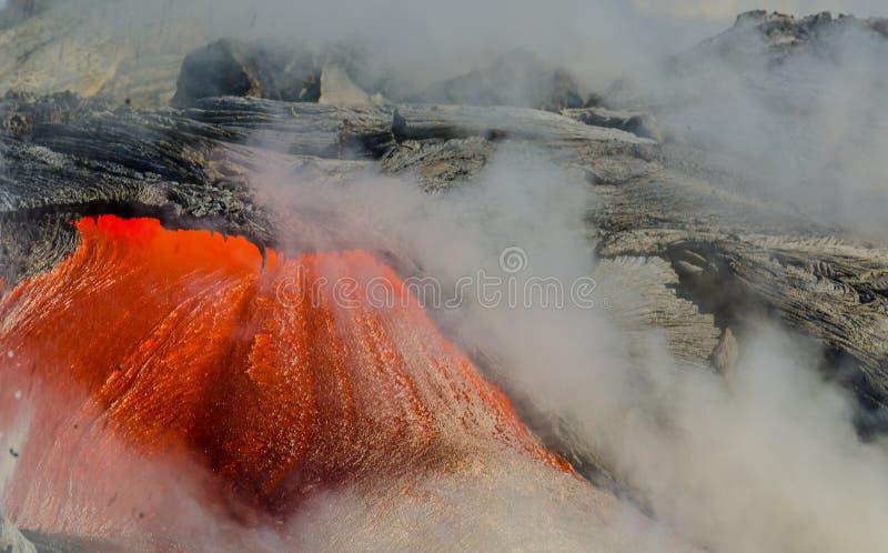 Kilauea wulkanu Lawowy przepływ obraz stock