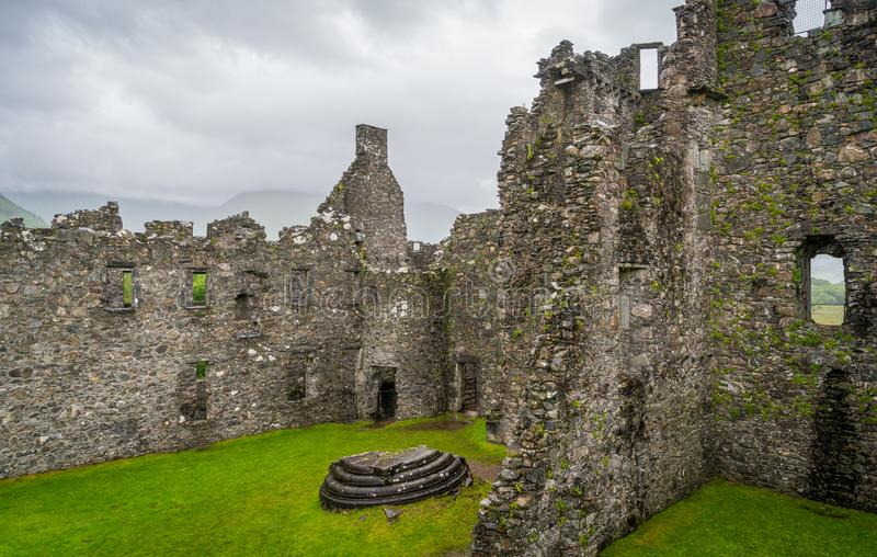 Kilchurn Castle, ruins near Loch Awe, Argyll and Bute, Scotland. Kilchurn Castle is a ruined structure on a rocky peninsula at the northeastern end of Loch Awe stock photo