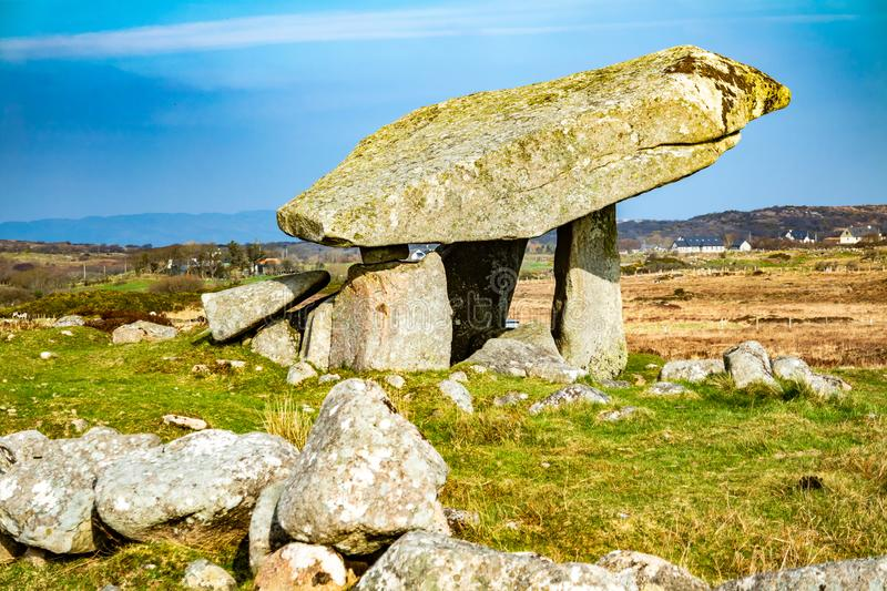 The Kilclooney Dolmen is neolithic monument dating back to 4000 to 3000 BC between Ardara and Portnoo in County Donegal stock images