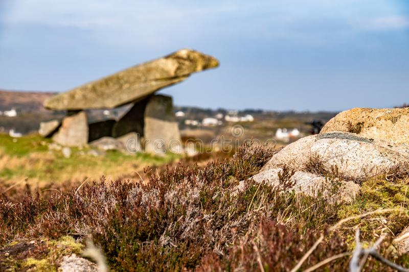 The Kilclooney Dolmen is neolithic monument dating back to 4000 to 3000 BC between Ardara and Portnoo in County Donegal stock image