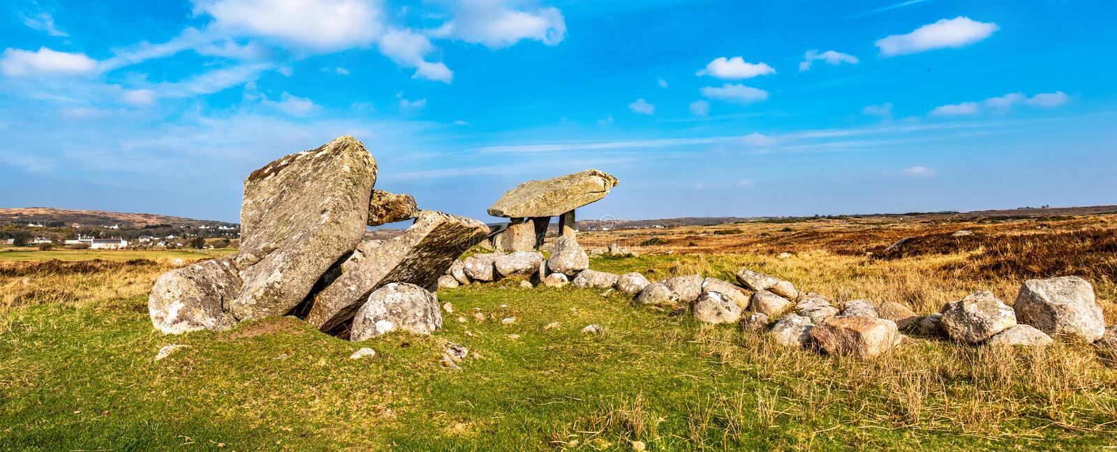The Kilclooney Dolmen is neolithic monument dating back to 4000 to 3000 BC between Ardara and Portnoo in County Donegal royalty free stock image