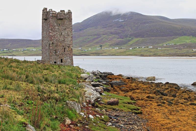 Kildavnet castle in Achill Island stock photo