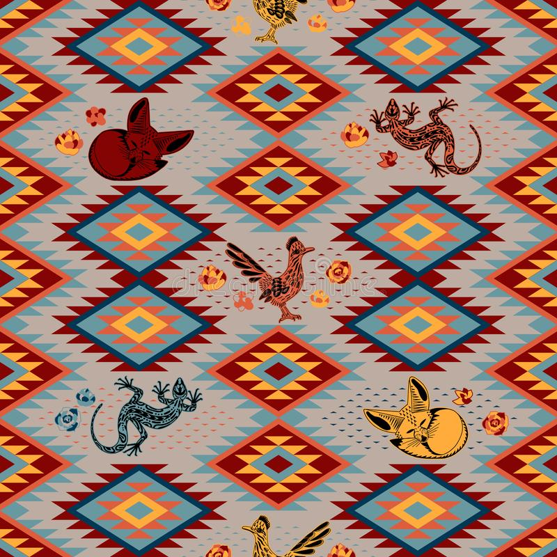 Kilim Ethnic geometric ornament with desert animals. Pattern of bright rhombuses. Greater roadrunner, Fennec fox, lizard. Kilim. Ethnic geometric ornament with stock illustration