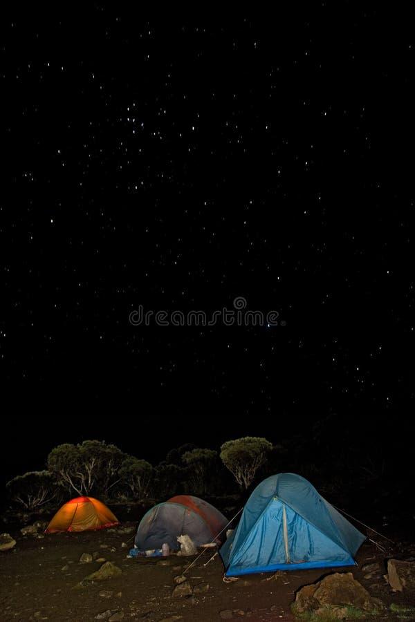 Kilimanjaro 008 shira hut camp tent night stock images