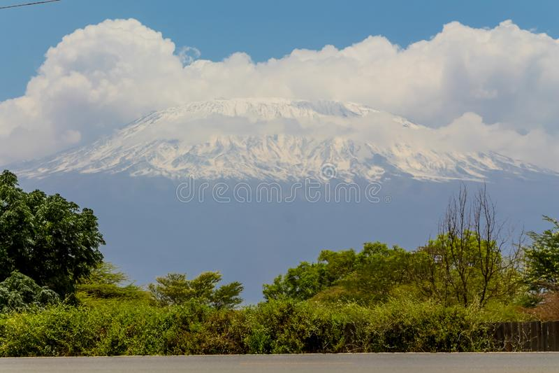 Kilimanjaro highest mountain in Africa view fron road. Kilimanjaro mountain above savanna bush scenic view from Amboseli national wild nature and wildlife game stock photo