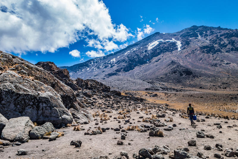 Kilimanjaro sikt från Machame ruttslinga royaltyfri bild