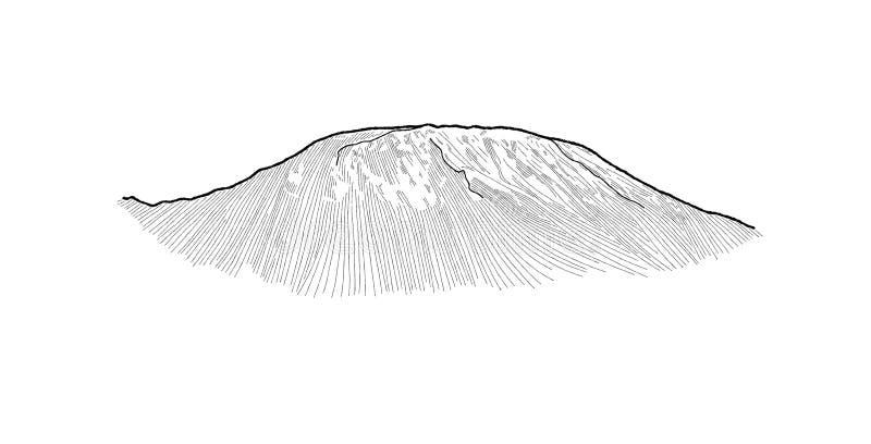 Kilimanjaro, Tanzania del este del norte, África: Arte exhausto de la historieta de la mano del ejemplo del vector de la señal ilustración del vector
