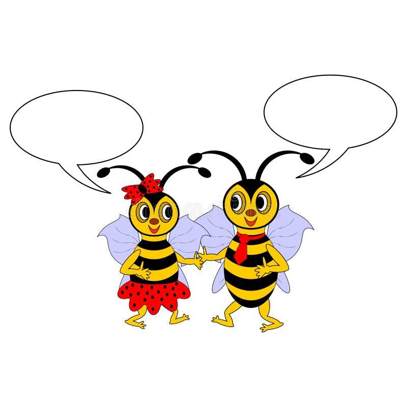 Kilka śmieszne kreskówek pszczoły z gawędzenie bąblami royalty ilustracja