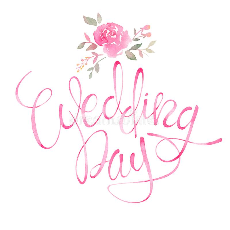 kilka dni ubranie szczęśliwy roczna ślub Romantyczny zaproszenie tekst z akwareli kwiecistym ele ilustracji