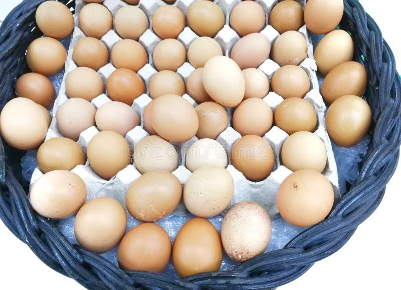Kilka jajka są w tacy i na czarnym koszu obraz stock