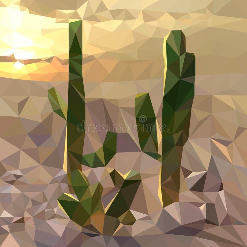 kilka kaktusy na tle zmierzch w pustyni, wieczór krajobraz, stubarwna mozaika ilustracja wektor