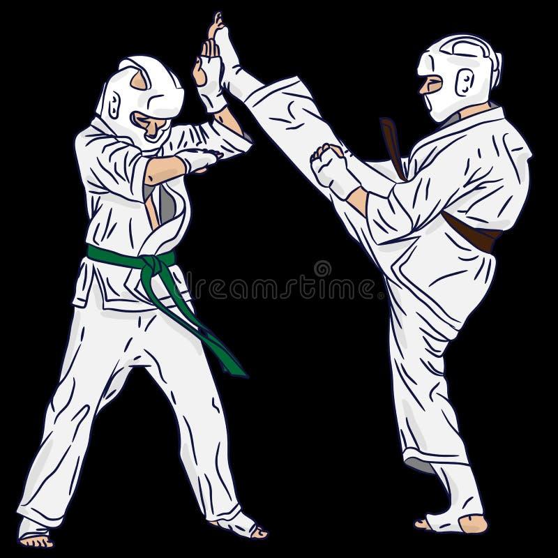 Kilka karate lub Taekwondo Walka w wektorowej akcji Kopni?cie od 3d sztuki obrazy royalty free