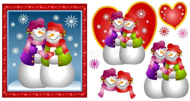 kilka karty lesbijką śniegu kobieta ilustracja wektor