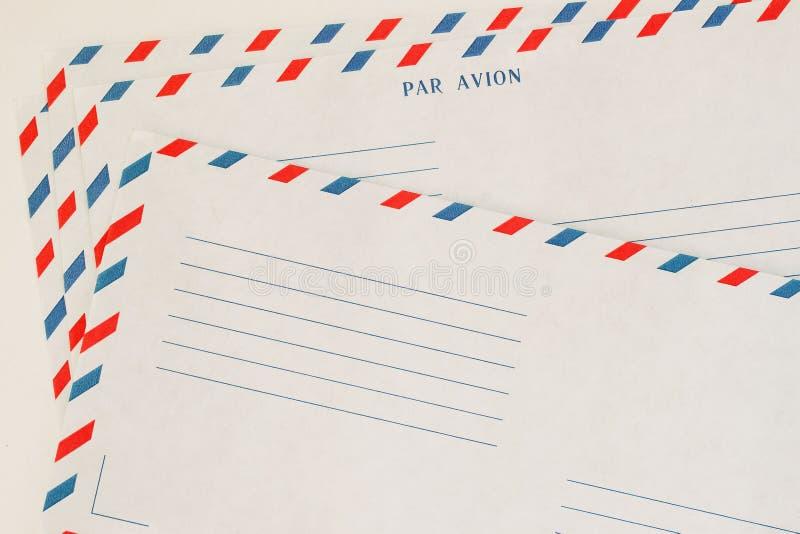 Kilka klasyczny Airmail koperty przód struktura papierowej Z miejscem twój tekst, tła use Pojęcie pocztowy obraz stock