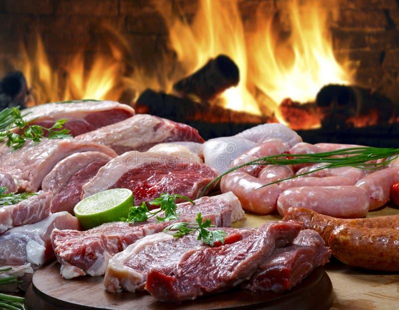 Kilka próbki surowy mięso zdjęcia stock