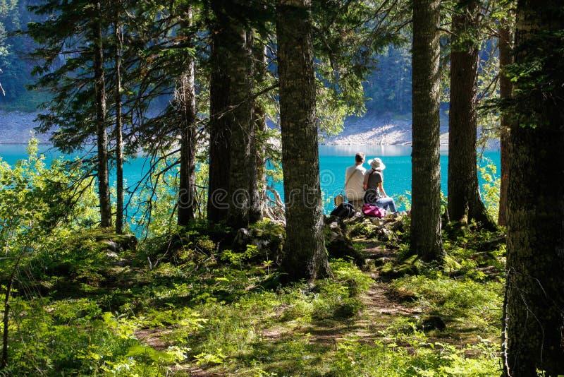Kilka tury?ci siedz? na skale na kraw?dzi falezy nad jezioro w sosnowym lesie zdjęcie stock