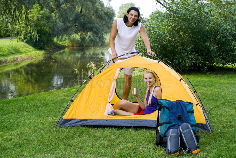 kilka ustawień namiot, obrazy royalty free