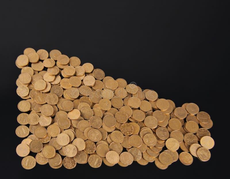 Kilka złote monety w formie trójboka obrazy stock