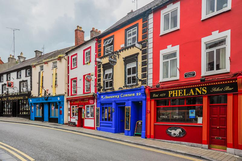 Kilkenny Pubs. Historic pubs line a quiet street in Kilkenny, Ireland royalty free stock images