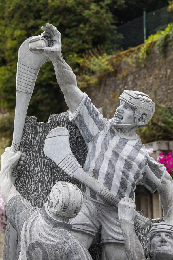Hurling Statue in Kilkenny. Kilkenny, Republic of Ireland - August 14th 2018: A Hurling statue in the historic city of Kilkenny in the Republic of Ireland stock photography