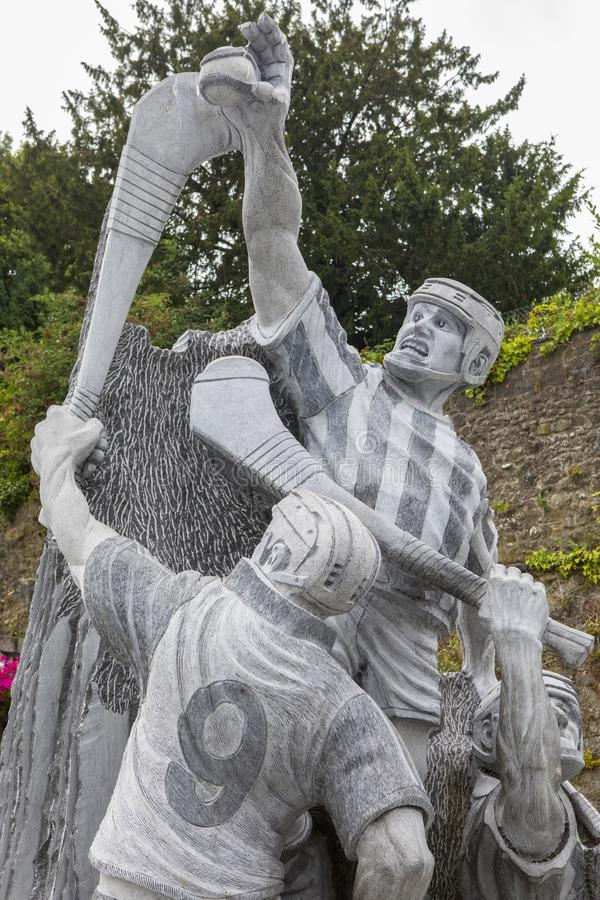 Hurling Statue in Kilkenny. Kilkenny, Republic of Ireland - August 14th 2018: A Hurling statue in the historic city of Kilkenny in the Republic of Ireland stock photo