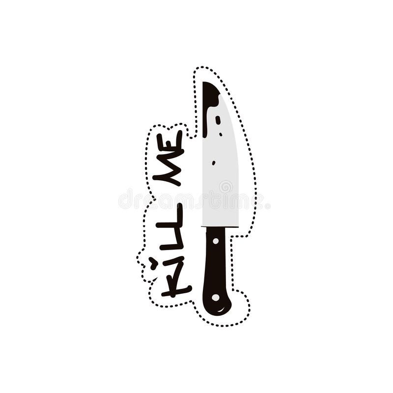 Kill me scaring quote with knife image flat black and white illustration isolated. royalty free illustration