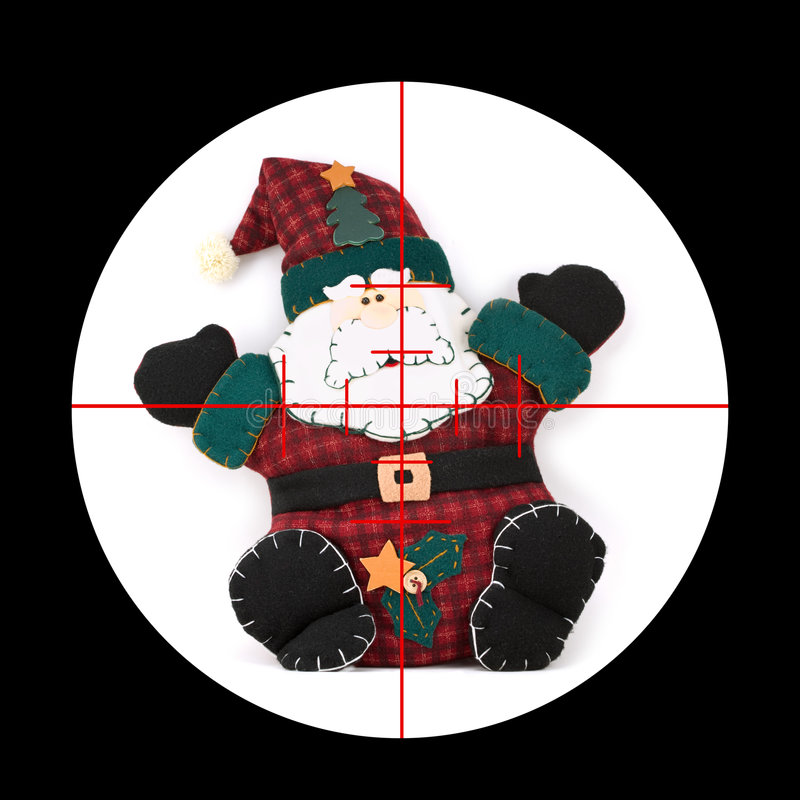 Kill Santa!. You've got Santa Claus in your sights stock photo