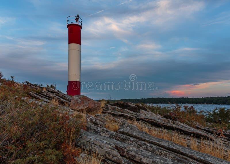 Killbear-Punkt-Leuchtturm auf georgischer Bucht stockbilder