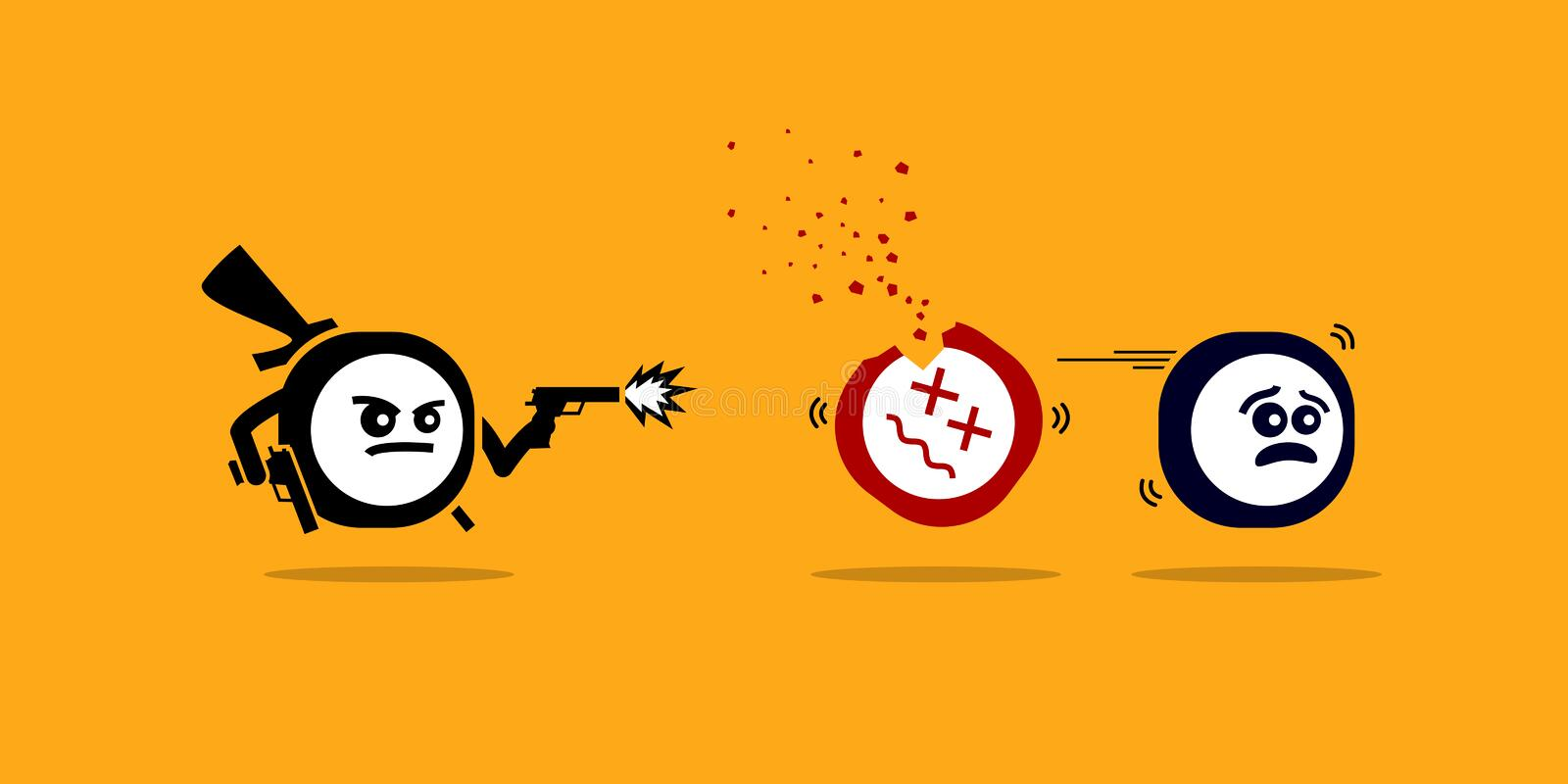 Killer app killing other mobile apps by shooting them with gun. stock illustration