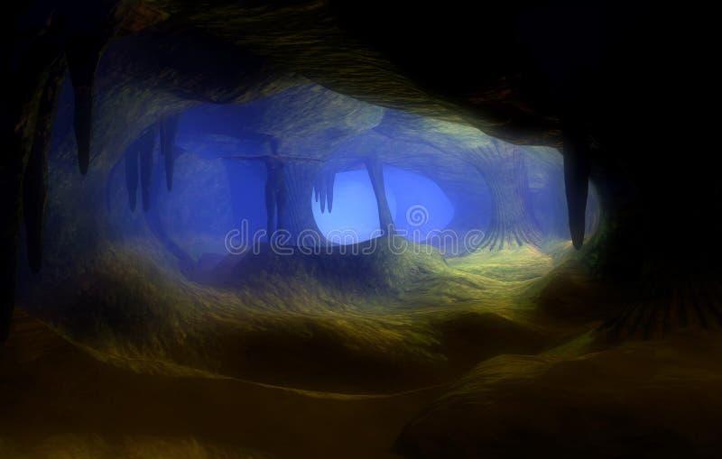 Killer cavern. Dark and long cave image rendered in a 3d Program vector illustration