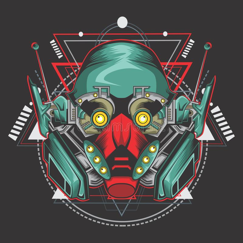 Killer robot fighter royalty free illustration