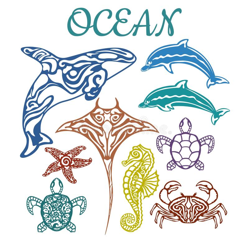 Killer whale, scate, Dolphin, starfish, seahorse, turtle, crab. Vector illustration. Set of paper marine animals stickers. Laser. Cut. Set template for laser royalty free illustration