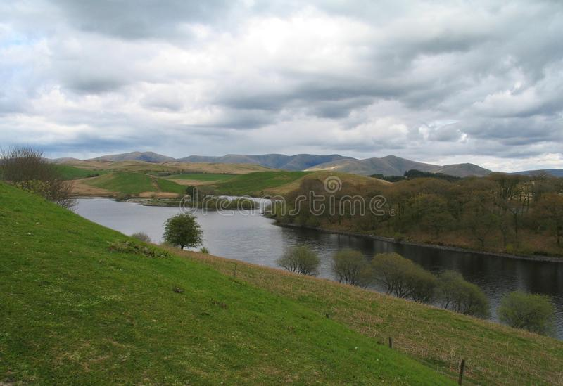 Killington Reservoir. As seen from the gardens of the Roadchef Services on the south side of the M6 motorway, near Kendal, England stock photo