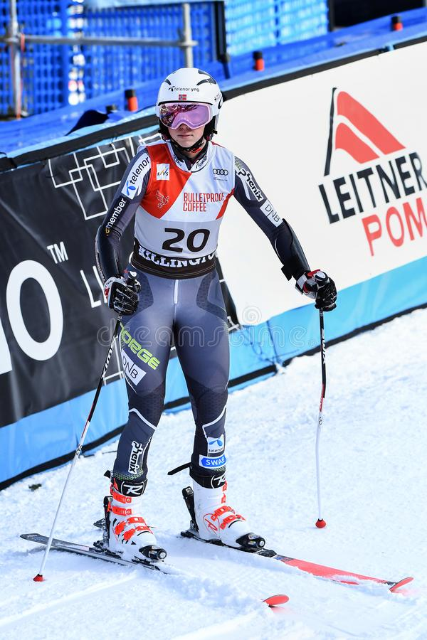 Kristin Lishahl of Norway competes in the first run of the Giant Slalom. KILLINGTON, VERMONT - NOVEMBER 24: Kristin Lishahl of Norway competes in the first run royalty free stock photo
